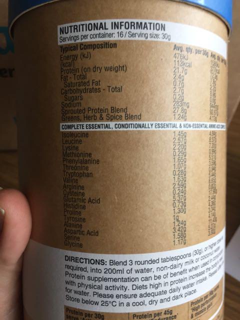 Amazonia Raw Slim&Tone Protein Powder nutrition