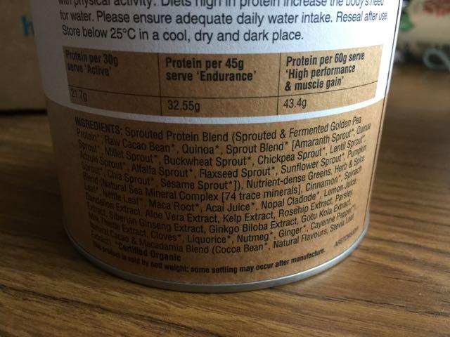 Amazonia Raw Slim&Tone Protein Powder ingredients