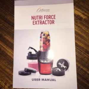 User Manual - Optimum Nutriforce Extractor | SmoothieSailor.com.au